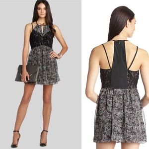 BCBG Woven Pleated Cut Out Cocktail Dress